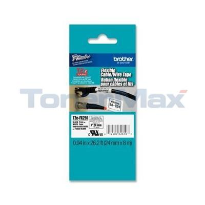 BROTHER TZ FLEXIBLE TAPE BLACK ON WHITE 24 MM X 8 M